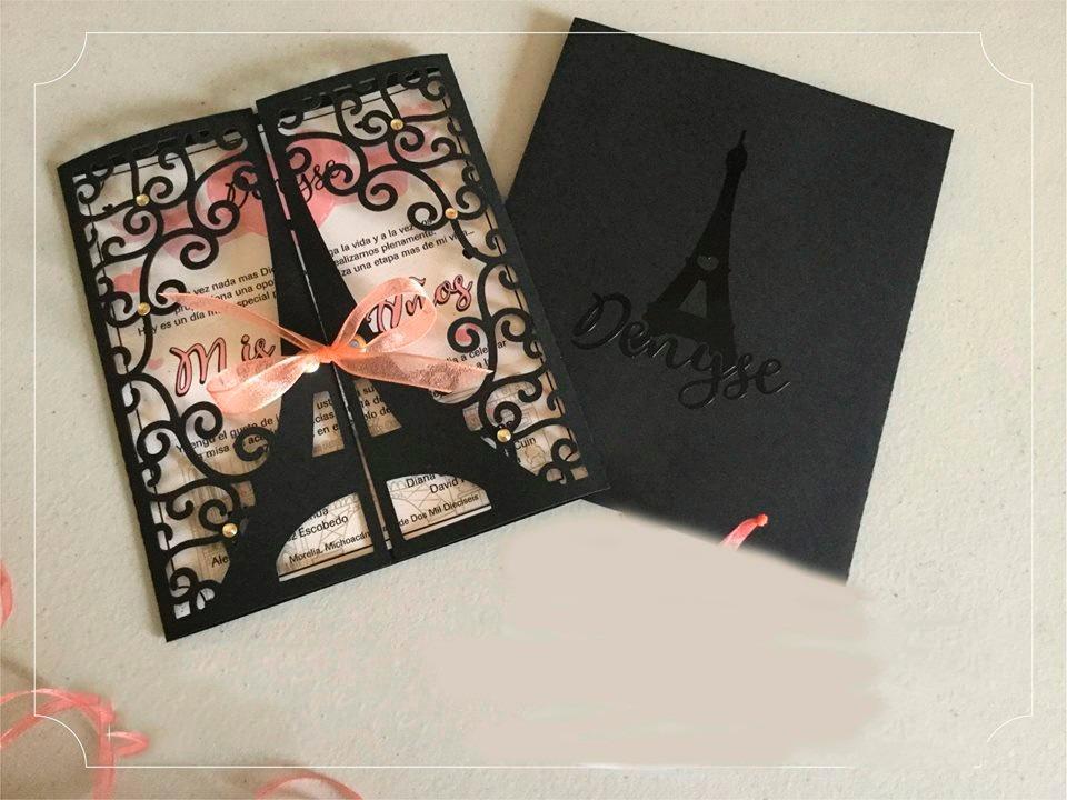2tarjetas Invitación Temáticas París Francia 15 Años Y Más