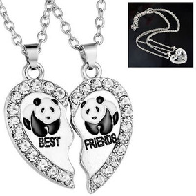 67d6dc9f426d 2x Best Friend Panda Break Heart Collar De Plata Con Colgan
