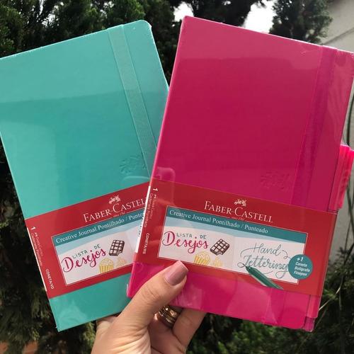 2x caderno pontilhado creative faber castell rosa & verde
