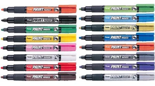 2x caneta marcador permanente vidro plastico pentel 4.5 ouro