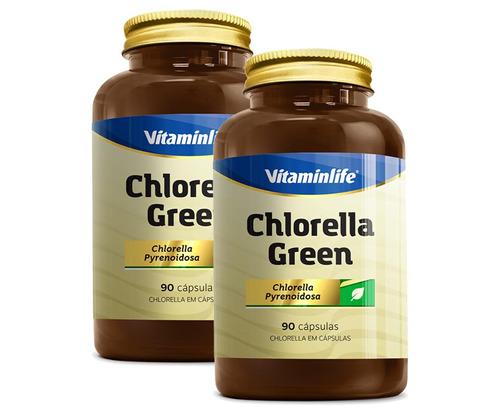 2x chlorella green ( 330mg ) 90 cápsulas - vitaminlife