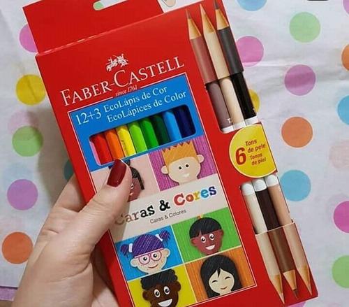 2x kit lapis cor ecolapis 12 + 3 caras e cores faber castell