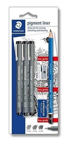 2x kits c/6 staedtler caneta nankin + lapis borracha apontad