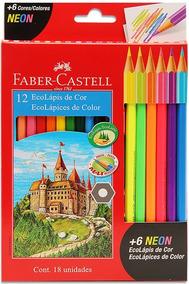 2x Lápis De Cor Ecolapis 18 Cores 12 + 6 Neon Faber Castell
