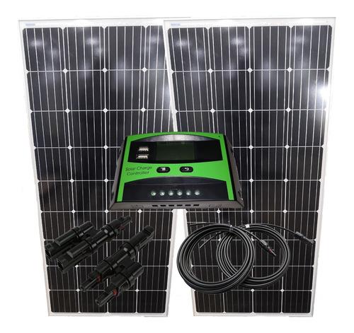 2x panel solar 185wp reg 30amp + bajada 8mts mc4 + branch