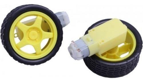 2x roda pneu motor + caixa de redução smart car arduino