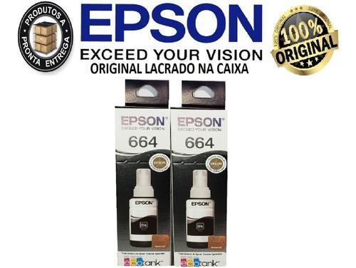 2x tinta original epson t664 preta l365 l375 l395 l220 l210