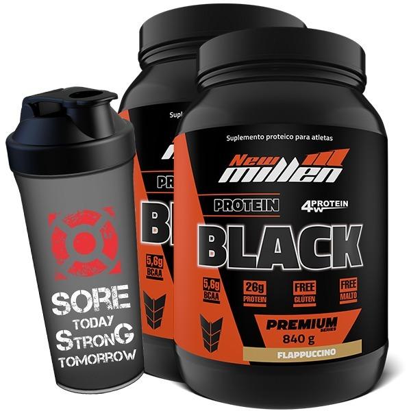 842458349 2x Whey 4w Black 840g + Shaker - New Millen - R  168