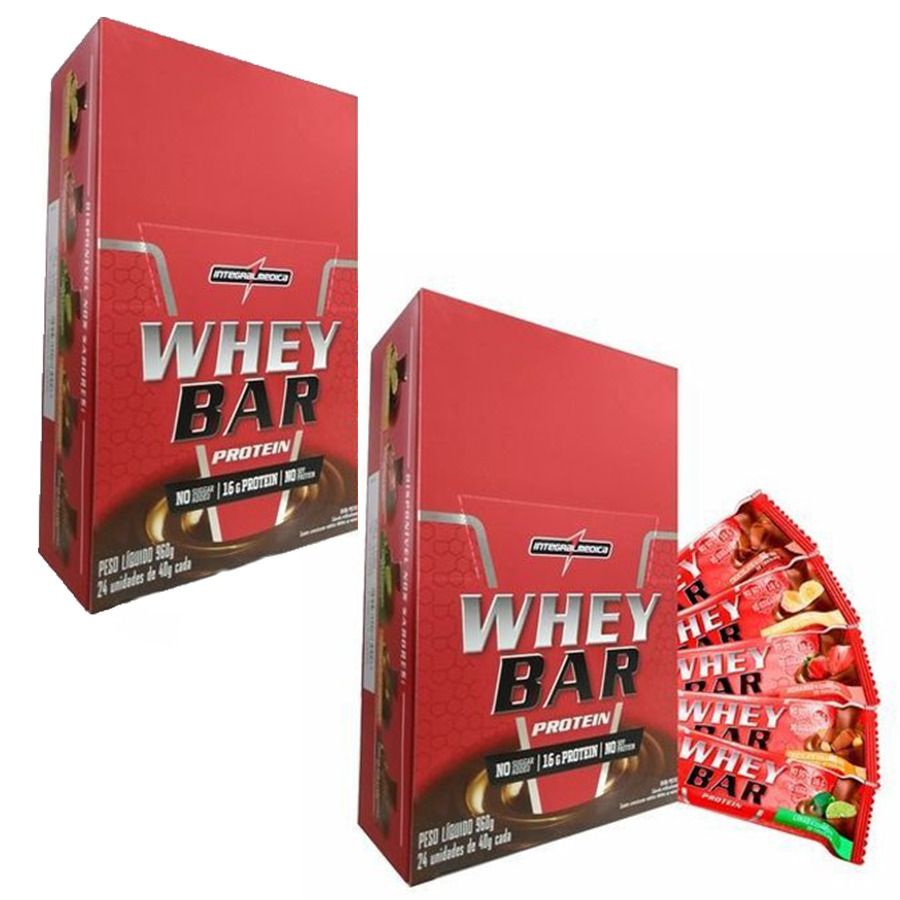 b46a21f31 2x Whey Bar Cx 24 Barras - Integral Medica- Todos Os Sabores - R ...