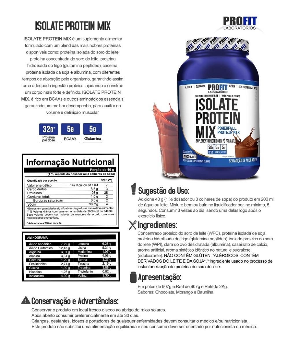 2x Whey Isolado Protein Mix Profit 900g   1 4e55776cc6da0