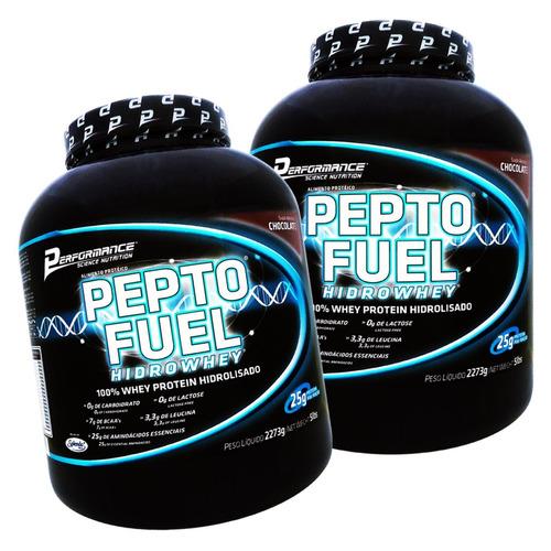 2x whey pepto fuel 100% hidrolisado - 2,273kg - performance