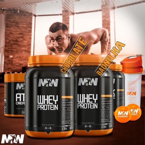 2x whey protein 907g, dextrose 907g,  creatina 300g,  shaker