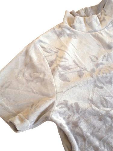 2x1 beatle top mujer polera plush velvet flores gris t/l