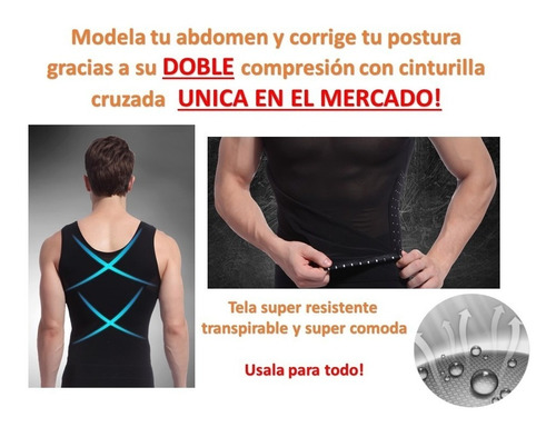 2x1 camiseta faja reductora modeladora hombre doble soporte