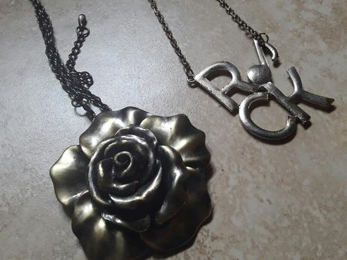 2x1 collares rosa grande y rock mujer
