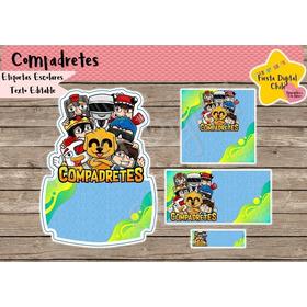 2x1 Etiquetas Escolares Imprimible Los Compas Compadretes