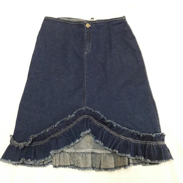 f751f87d21 2x1 Falda Mezclilla Vuelos Azul Elasticada Asimétrica T m -   9.900 ...