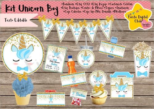 2x1 kit imprimible cotillon bautizo unicornio niño baby