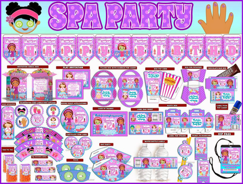 2x1 kit imprimible fiesta de spa powerpoint editable