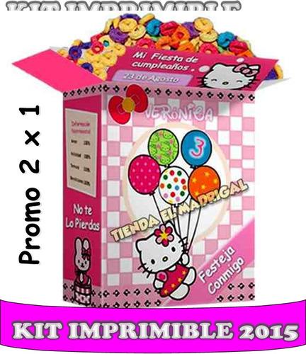 2x1 kit imprimible tarjetas invitaciones hello kitty  marco