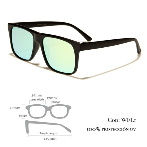 2x1 lente de sol wayfarer 100% uv y certificaciones wfl1