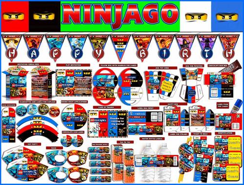 2x1 mega kit imprimible ninjago textos100% editables