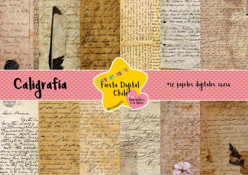 2x1 papel digital caligrafia libros antiguos texto fdc
