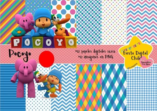 2x1 papel digital! pocoyo y sus amigos fdc