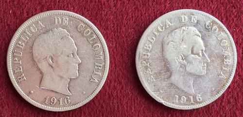 2x$80.000 monedas colombia 50 centavos 1916 tipo 1 y 2 plata