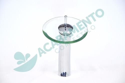 2xkit cuba vidro redonda incolor 42cm + misturador + válvula