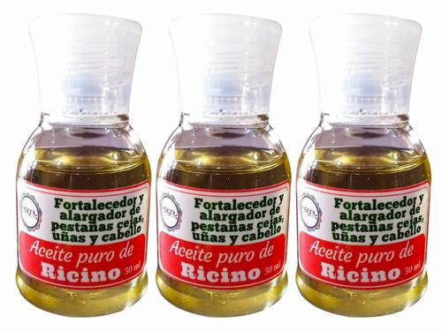 3 aceites de ricino puro - fortalece pestañas y uñas