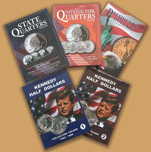 3 album coleccionador monedas de usa 25 centavos 50 centavos