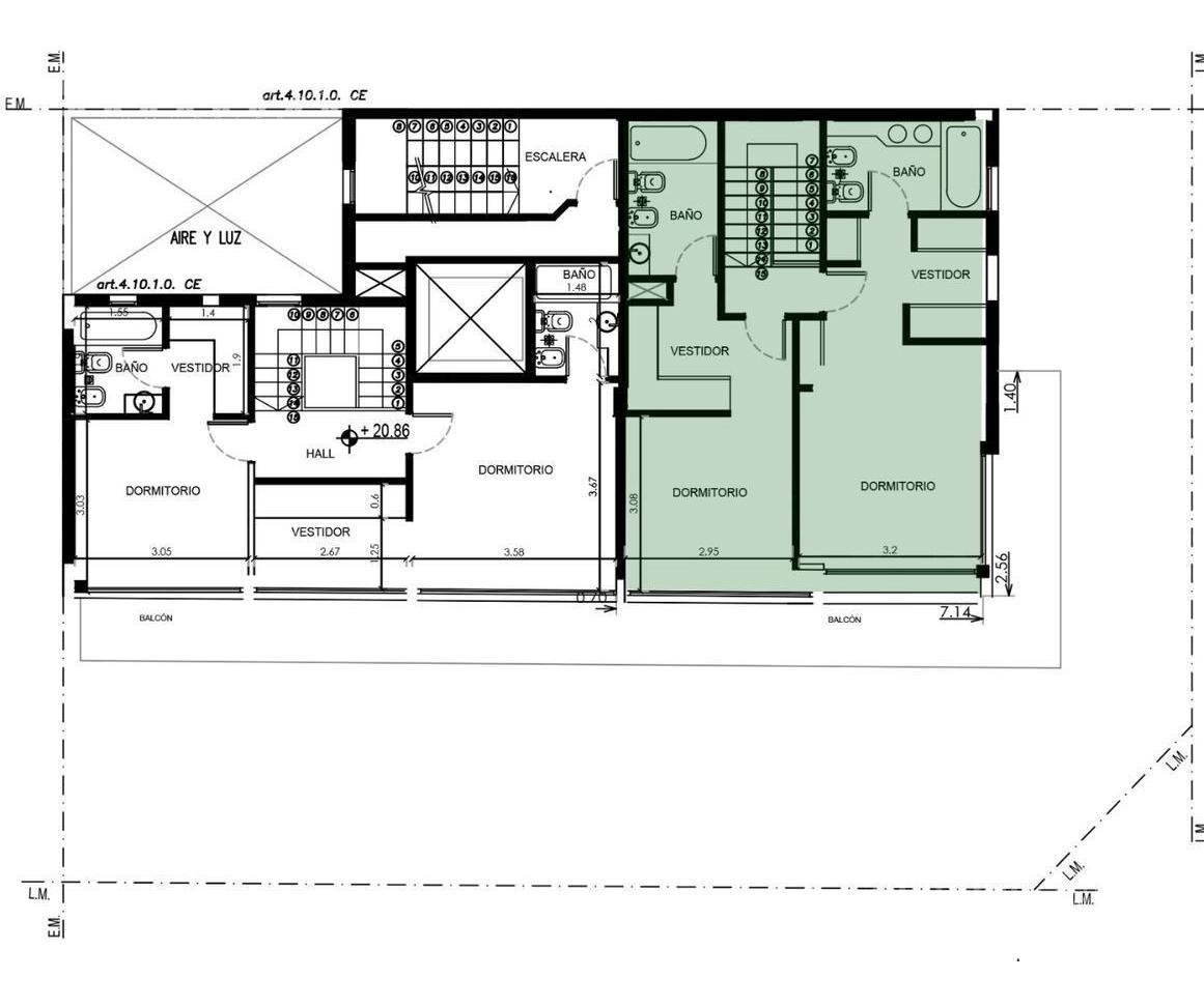 3 amb semi piso 4° y 5° piso en duplex c/dos cocheras  - olivos-vias/rio