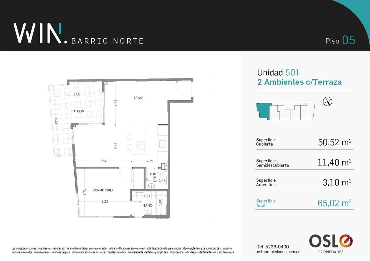 3 ambientes 66m2 en recoleta. amenities. win barrio norte