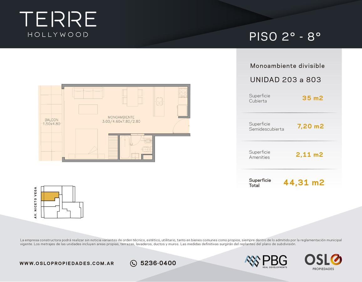 3 ambientes 83m2 en palermo hollywood. edificio con amenities