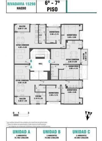 3 ambientes |  av.rivadavia 15298