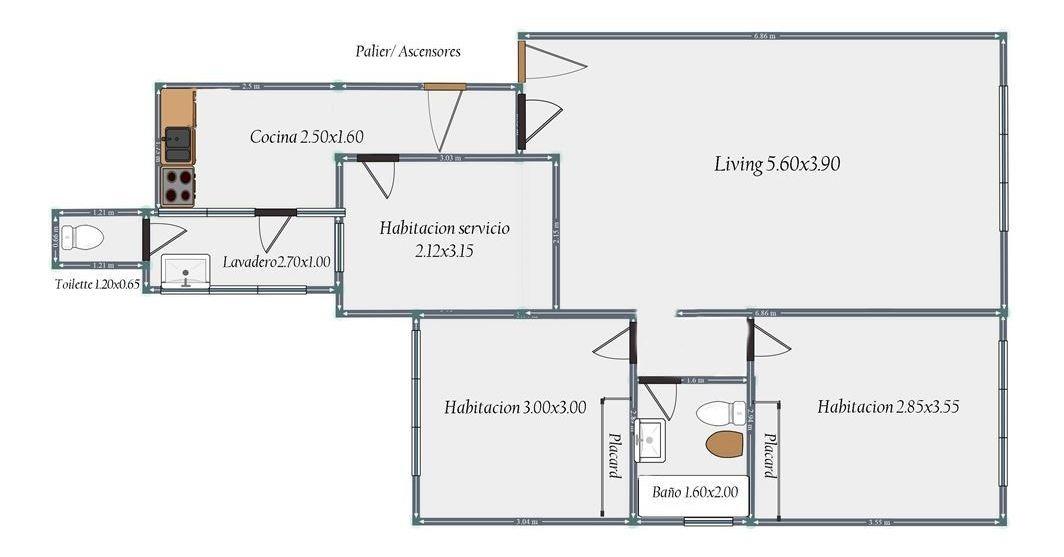 3 ambientes - balvanera - con dependencia y bauler