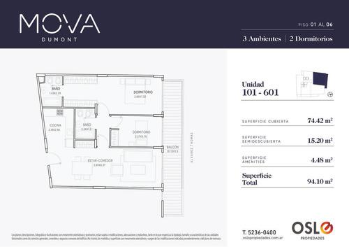 3 ambientes c terraza 135m2 en palermo/colegiales. entrega 2020