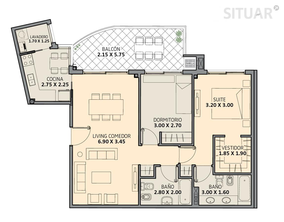 3 ambientes con amenities caballito