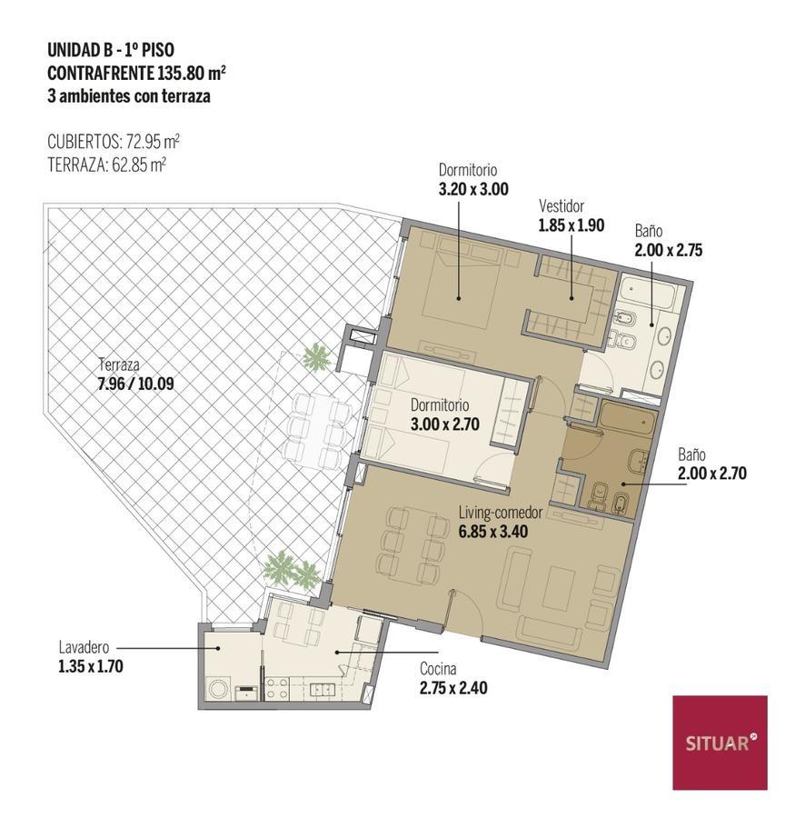 3 ambientes con gran patio y parrilla individual en caballito