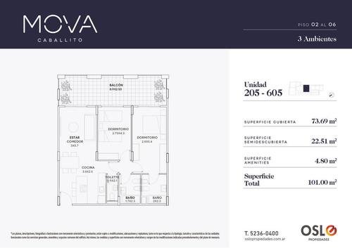 3 ambientes de 101m2 en caballito, edificio con amenities