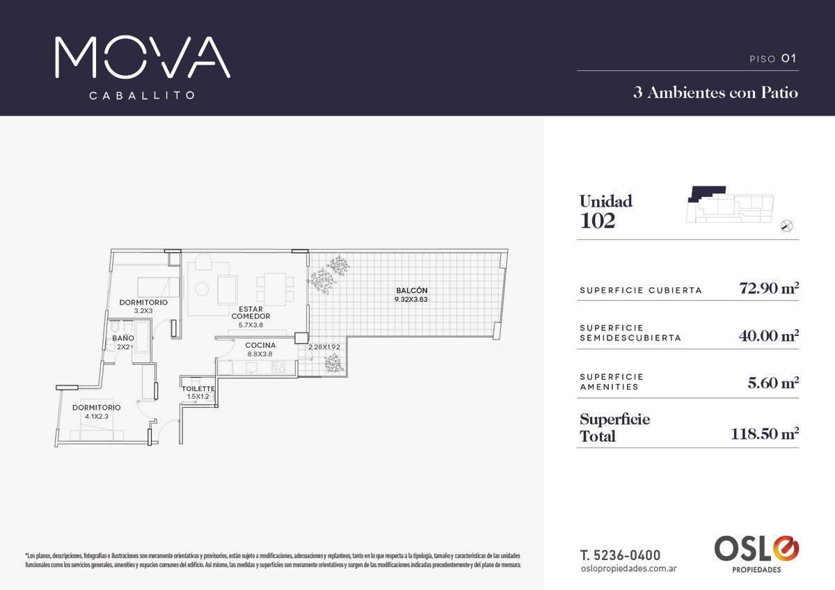 3 ambientes de 118m2 en emprendimiento premium en caballito