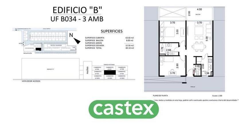 3 ambientes en venta en saravi village nuevo lanzamiento en pilar. uf  c 46