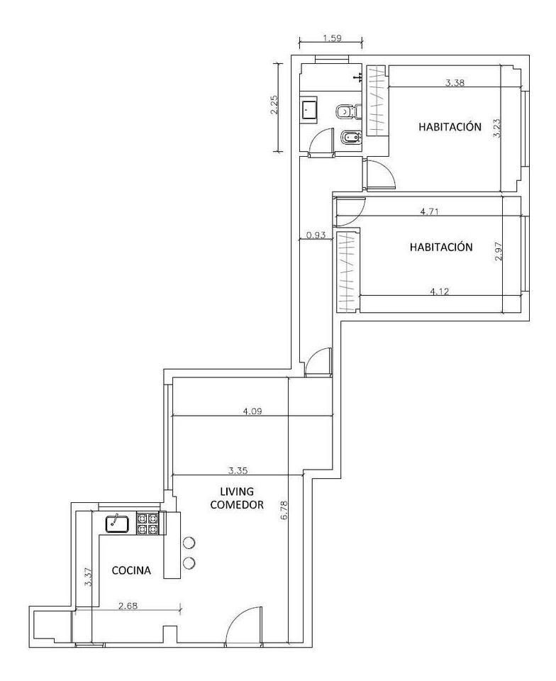 3 ambientes refaccionado en venta en belgrano!