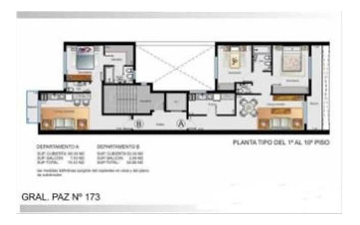 3 amplios ambientes al frente con balcon y cochera