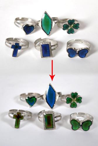 3 anillos mágicos, cambian de color, del humor varios modelo