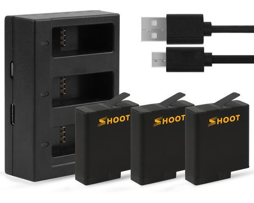 3 baterias + cargador triple pila, gopro hero black 8, 7/6/5