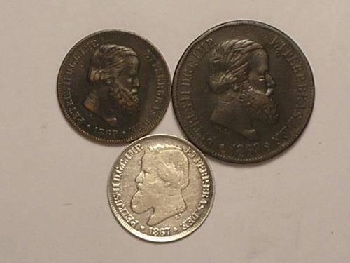 3 belas moedas 10/20/200 rs. 1869/1869/1867 / -d3