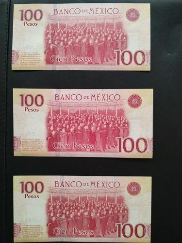 3 billetes consecutivos  $100 centenario de la constitución