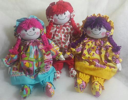 3 bonecas de pano - 45 cm